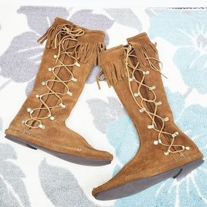 Minnetonka Lace Up Leather Fringe Festival Boots